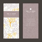 Vector magical floral vertical frame pattern invitation greeting cards set