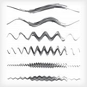 Set Of Black And White Wavy Vector Dividers