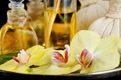Beautiful spa composition with orchid close up