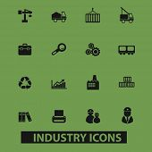 industry, management, industrial, logistics icons, signs, illustrations set, vector