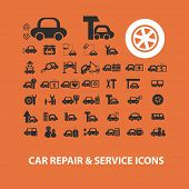 car, auto, service, station icons, signs, illustrations set, vector