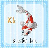Illustration of a letter K is for koi