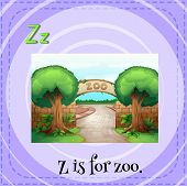 Illustration of a letter Z is for zoo
