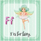 Illustration of a letter F is for fairy