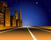 Illustration of a city view by the express way