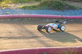 RC buggy  toy car in a rally championship race