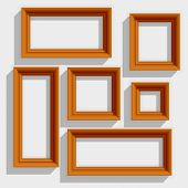 Empty Wooden Brown Picture Frames Isolated on the White Background. Vector Illustration