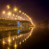 Havana bridge in Kiev at night. Ukraine.
