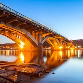 Kyiv Metro bridge in the evening