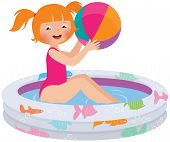 Girl With A Ball In An Inflatable Pool
