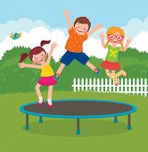 stock photo of jumping  - Stock Vector cartoon illustration of funny children jumping on a trampoline - JPG