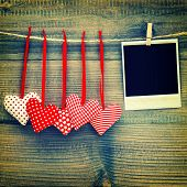 Red Hearts And Vintage Photo Frame. Valentines Day. Instagram Style