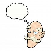 cartoon old man face with thought bubble