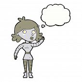 cartoon robot woman waving with thought bubble