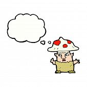 cartoon little mushroom man with thought bubble