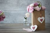 Love Vintage still life horizontal background with roses and hearts