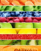 Fruits, berries and greens in colorful collage