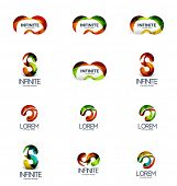 Set of infinity and loop company logos, modern business symbols