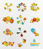 Set of abstract step infographics - modern composition of geomtric shapes with light effects
