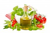 Olive Oil With Fresh Basil And Tomatoes. Food Background