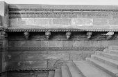 stock photo of pilaster  - Crafted designs on rocks Adalaj Stepwell in Ahmedabad Gujarat India  - JPG