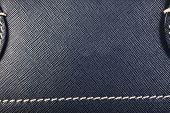 Blue Stitched Leather Handbag