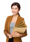 Business woman hold with folder