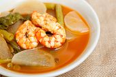 Sour Soup With Shrimp And Vegetable.