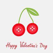 Cute Cherriy Buttons Flat Design Happy Valentines Day Card