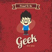 foto of geek  - cartoon geek retro theme vector art illustration - JPG