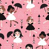 Seamless dancing ballet girls friends illustration for kids sweet geometric pink background pattern in vector