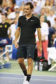 Seventeen times Grand Slam champion Roger Federer after victory at round 4 match at US Open 2014