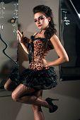 Woman wearing sexy leopard dress