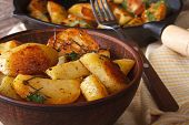 picture of baked potato  - Tasty hot baked potatoes in a bowl close - JPG