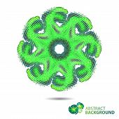 Abstract Circular Green Background Of Complex Forms With Space For Text