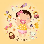 picture of baby doll  - A vector about baby girl and toys - JPG
