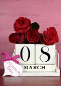 Vintage White Wood Calendar For March 8, International Womens Day, With Red Roses On Shabby Chic Pin