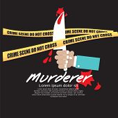 picture of crime scene  - Hand Holding Murderer Knife Crime Scene Concept Vector Illustration - JPG