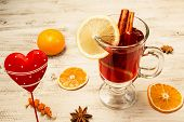 Mulled Wine On A White Wooden Background