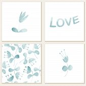 Cards With Watercolor Floral Elements.