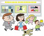 Family shopping cartoon