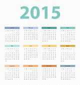 2015 year calendar, template