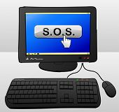 pic of sos  - illustration of computer with sos button on the screen - JPG