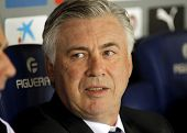 BARCELONA - MAY,11: Carlo Ancelotti of Real Madrid before the Spanish Kings Cup match against UE Cornella at the Estadi Cornella on May 11, 2014 in Barcelona, Spain