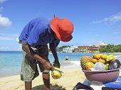 Man Sells Ananas At The Beach
