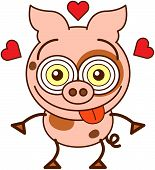 Funny pig feeling madly in love
