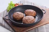 Meat Rissoles On The Iron Pan