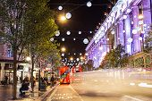 London, England - 13 November 2014 Oxford Street, decorated for Christmas and New 2015