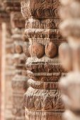 Carved wooden columns in Nepal