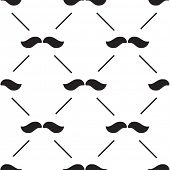 seamless pattern with black mustaches on white background